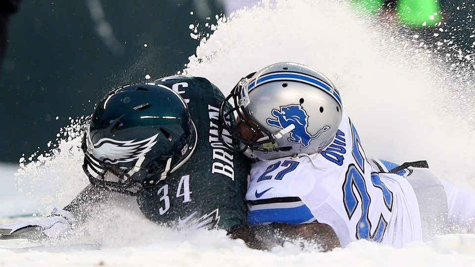 Bryce Brown of the Philadelphia Eagles is tackled by Detroit Lions' Glover Quin