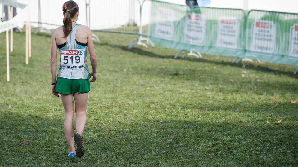 Ireland's Fionnuala Britton walks away dejected after finishing fourth at the European Cross Country Championships in Belgrade