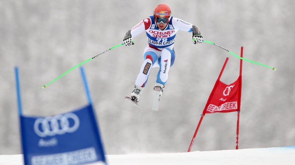 Switzerland's Patrick Kueng in the men's Super-G race at the FIS Ski World Cup in Colorado