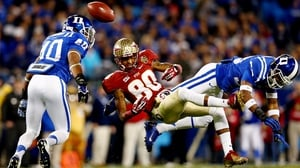 Florida State Seminoles' Rashad Greene misses a catch as Deondre Singleton and Dwayne Norman of Duke Blue Devils defend