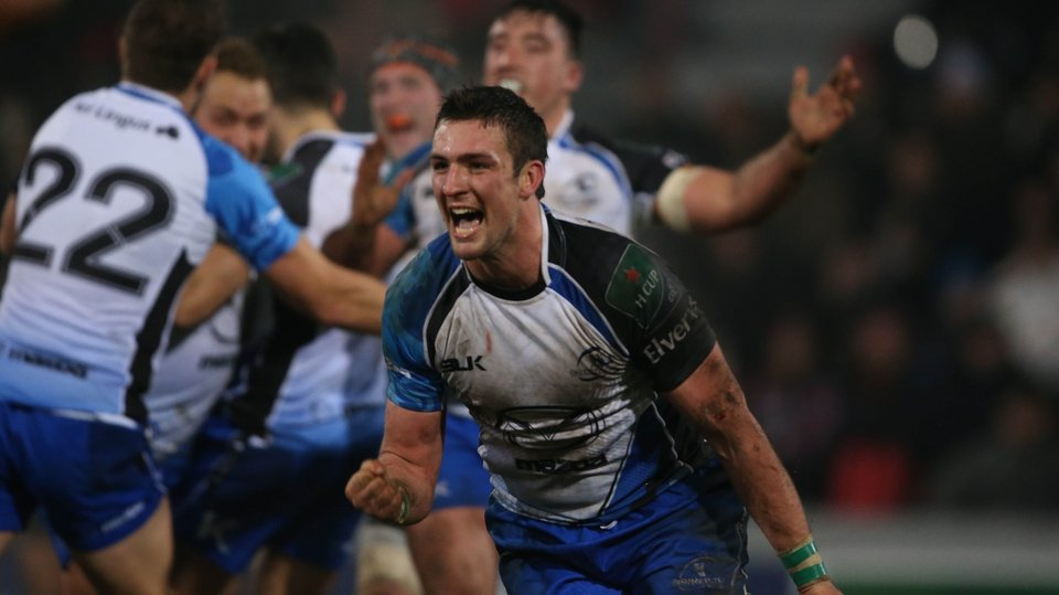 Connacht's Dave McSharry on the final whistle after the historic victory at French giants Toulouse in the Heineken Cup