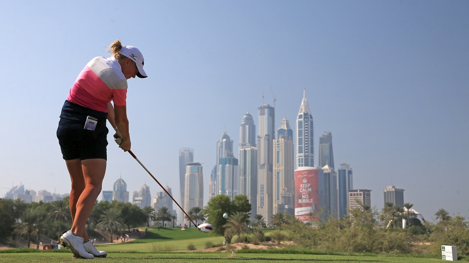 American Stacy Lewis tees off in the final round of the Dubai Ladies Masters