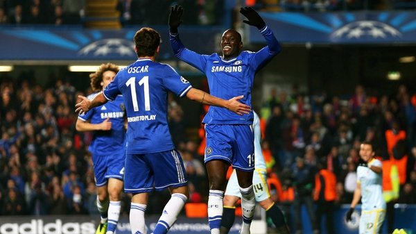 Chelsea players celebrate after Danijel Georgijevski of Steaua scores an own goal