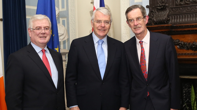 Tánaiste Eamon Gilmore is joined by John Major and and former Labour leader Dick Spring (Pic: Sam Boal/Photocall Ireland)