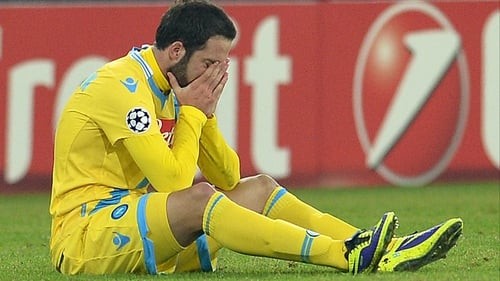 Gonzalo Higuain was in tears after Napoli's Champions League ecit