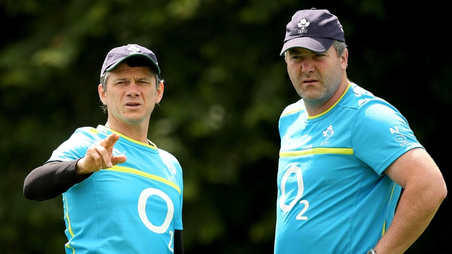 New Ireland Wolfhounds head coach Anthony Foley (R), pictured with Ireland assistant coach Les Kiss
