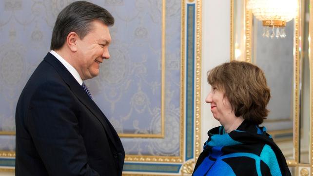 Catherine Ashton held talks with the Ukrainian president yesterday