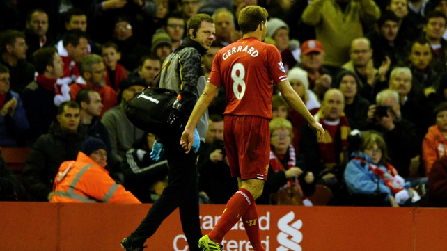 Steven Gerrard is out for four to six weeks with a hamstring problem