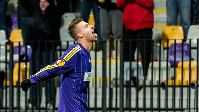 Zeljko Filipovic of NK Maribor celebrates what proved to be the winning goal