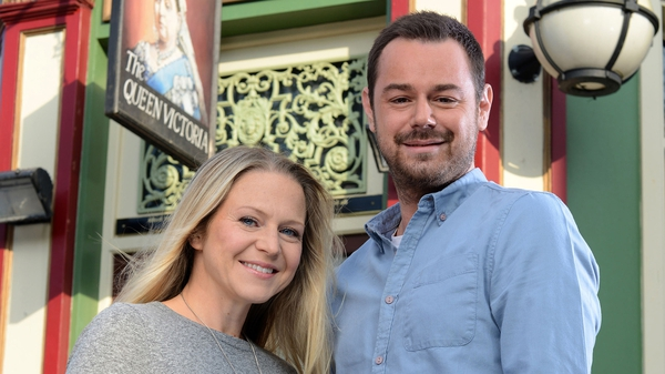 Dyer with new screen wife Kellie Bright - Characters are both fans of ladies' pink dressing gowns