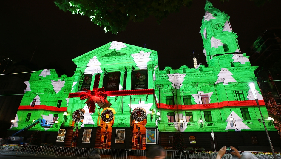 Images of Christmas are projected on to Melbourne Town Hall in  Australia