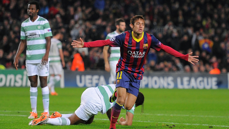 Neymar of FC Barcelona celebrates after scoring his team's 4th goal during the UEFA Champions League match against Celtic