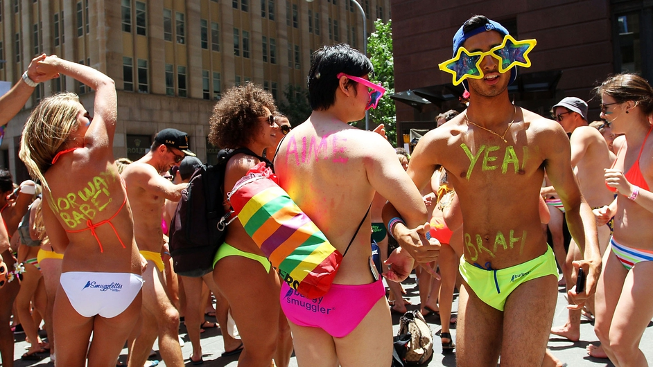 Revellers take part in the 'AIME Strut the Streets' parade in Martin Place in Sydney, Australia