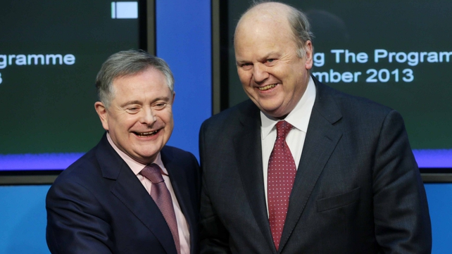 Brendan Howlin and Michael Noonan gave a press conference on Ireland's bailout exit