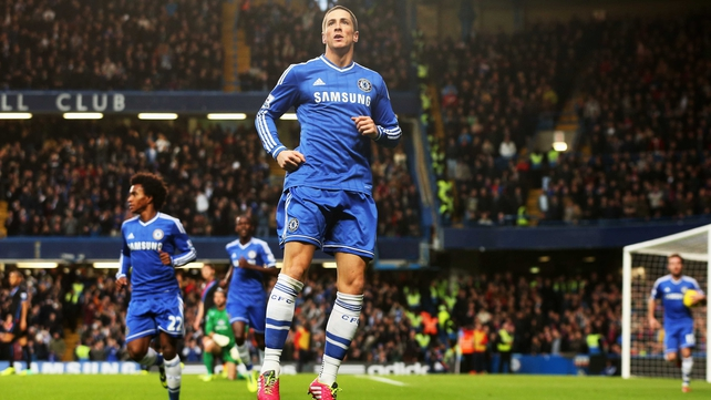 Fernando Torres celebrates a goal against Crystal Palace