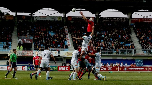 Paul O'Connell claims a lineout against Perpignan