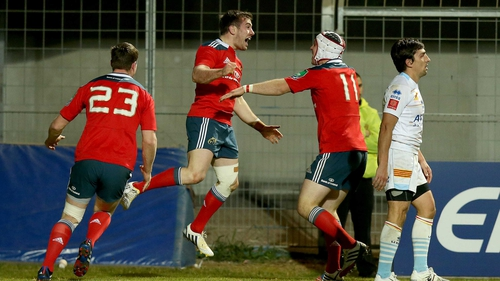 JJ Hanrahan (c) celebrates scoring the winning try for Munster as they pull off another famous win