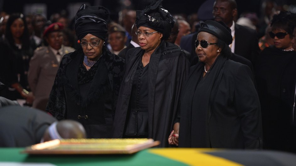 Nelson Mandela's widow Graca Machel and his ex-wife Winnie Mandela Madikizela at the ceremony