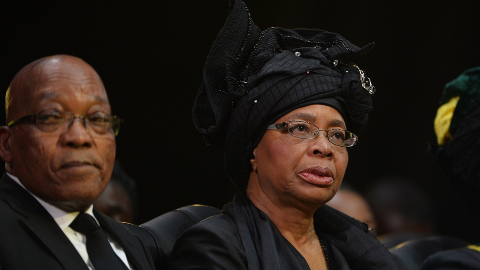South African President Jacob Zuma and Nelson Mandela's widow Graca Machel