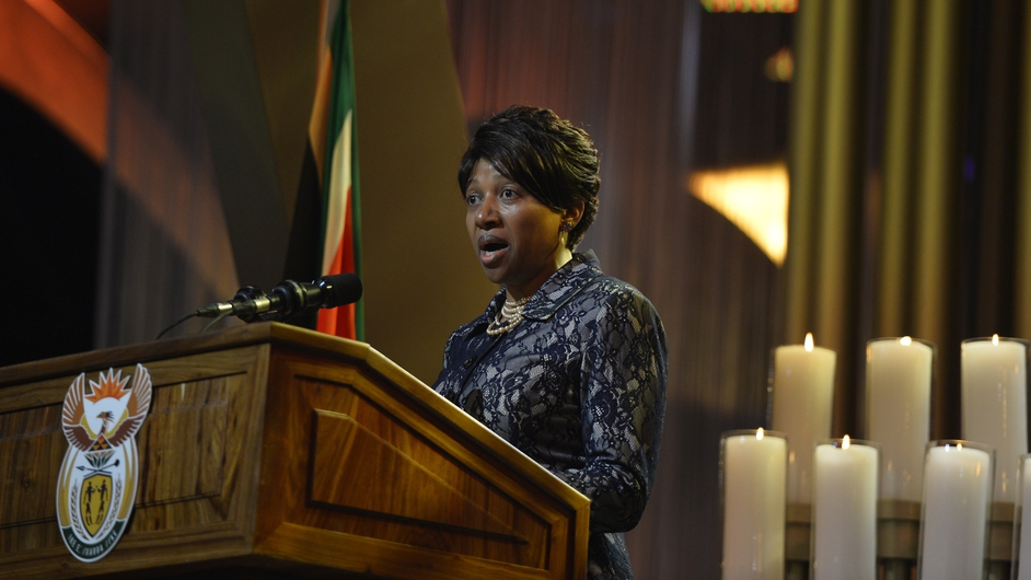 Nelson Mandela's granddaughter Nandi Mandela speaks during the funeral ceremony