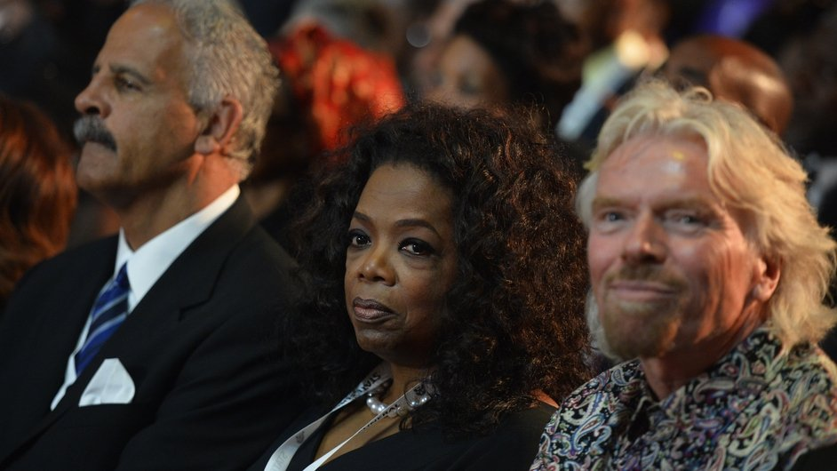 US TV host Oprah Winfrey and British entrepreneur Richard Branson at the ceremony
