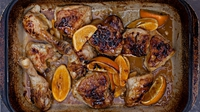 "Caramelised Chicken with Oranges - Lynda says: ""This is one of those dinners that requires minimal work and makes for a great family meal. At the end of the cooking, the chicken pieces are golden and caramelised and have absorbed some of the orangey syrup. I generally serve this with rice and some crunchy vegetables on the side such as green beans, asparagus or purple sprouting broccoli, depending on the season. You may prefer to buy chicken legs and thighs instead of a whole chicken as the bones impart so much flavour."""