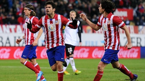 Diego Costa (centre) bagged a brace for Atletico