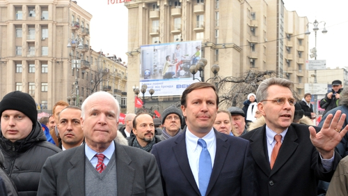 Senator McCain addressed Ukrainians camped on Kiev's main square protesting against Mr Yanukovich's U-turn in trade policy