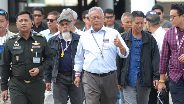 Suthep Thaugsuban (centre) says reforms should be pushed through by an unelected 'people's council'