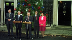 Patrick Mayhew, John Major, Mr Reynolds, Dick Spring and Máire Geoghegan Quinn after the signing of the Downing Street Declaration in 1993 (Pic: Photocall)