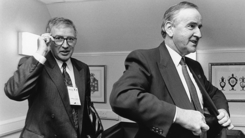 Mr Reynolds with Government press officer Sean Duignan on their way into talks during the Edinburgh EU Summit in 1992 (Pic: Photocall)