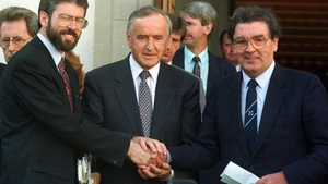 Sinn Féin president Gerry Adams with then taoiseach and Fianna Fáil leader Reynolds and SDLP leader John Hume on the steps of Government Buildings in Dublin after their historic meeting on the peace process (Pic: Eamonn Farrell/Photocall)