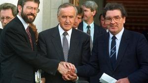 Sinn Féin president Gerry Adams with then taoiseach and Fianna Fáil leader Reynolds and SDLP leader John Hume on the steps of Government Buildings in Dublin after their historic meeting on the peace process (Pic: Eamonn Farrell/Photocall)