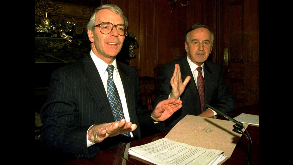 Mr Major and Mr Reynolds in Downing Street for the signing of the Joint Declaration on the North in 1993 (Pic: Photocall)
