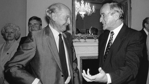 Jack Lynch with Mr Reynolds at the launch of a book on the Maastricht Treat by the institute of European Affairs in 1992 (Pic: Photocall)