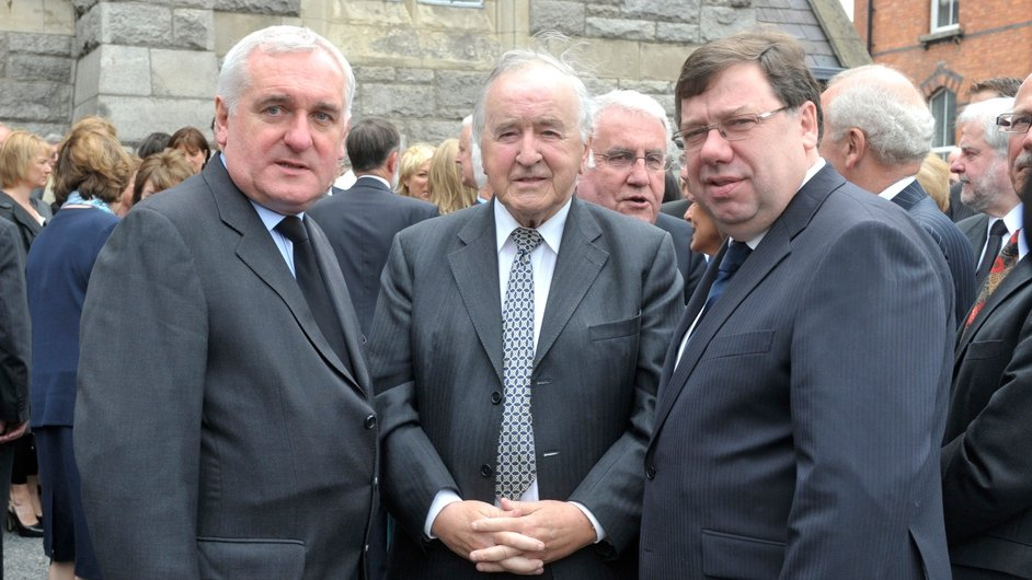 Former taoisigh Ahern, Reynolds and Brian Cowen at the funeral of former attorney general Rory Brady in 2010 (Pic: Sasko Lazarov/Photocall)