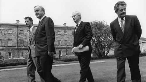 Dick Spring, Albert Reynolds, John Bruton and Des O'Malley as they support the Maastricht Treaty in 1992 (Pic: Eamonn Farrell/Photocall)
