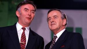 Pádraig Flynn and Mr Reynolds at the Fianna Fáil Ard Fheis in 1991 (Pic: Eamonn Farrell/Photocall)