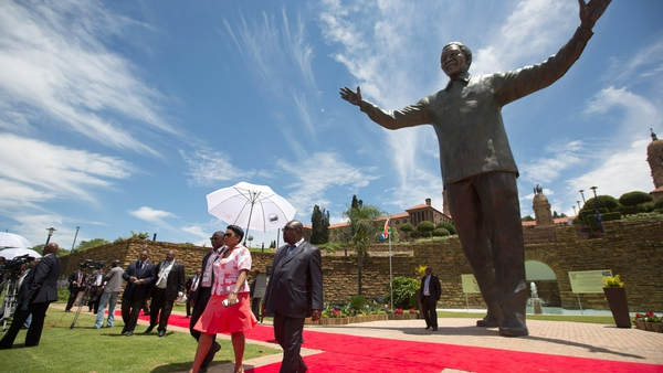 A statue of former South African president Nelson Mandela is unveiled at Union Buildings