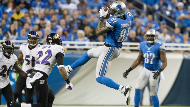 Calvin Johnson of the Detroit Lions completes a pass