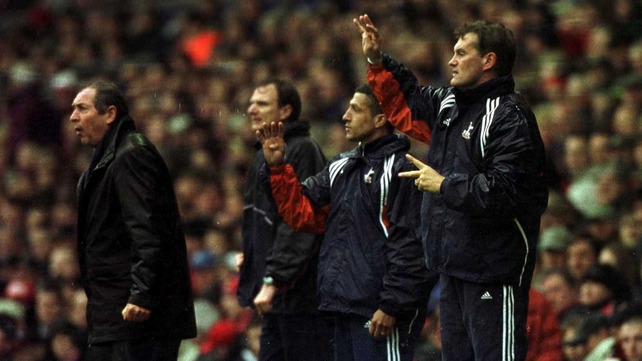 L to R: Gerard Houllier, Phil Thompson, Chris Hughton and Glenn Hoddle during a Spurs v Liverpool FA Cup match in 2001