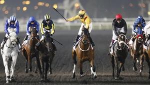 Jockey Richard Mullen on Reynaldothewizard won the Dubai Golden Shaheen