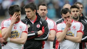 Tyrone players look dejected after their National Football League final defeat to Dublin in Croke Park