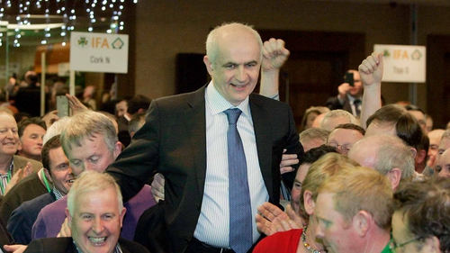 Eddie Downey is carried by supporters after his election (Pic: Mark Stedman/Photocall)