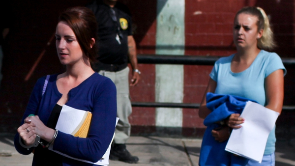 Michaella McCollum and Melissa Reid leave the court in the Sarita Colonia prison