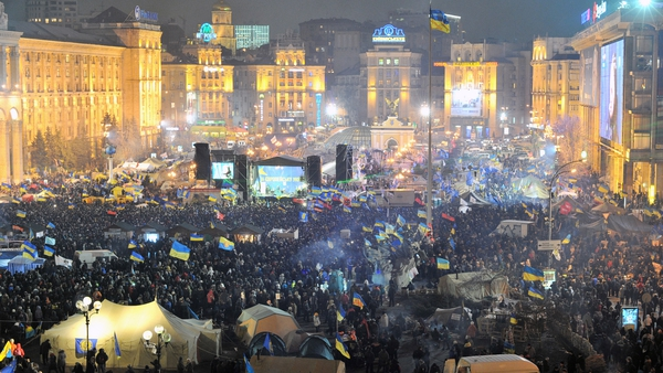 Independence Square in central Kiev from above as protesters gather for an opposition rally