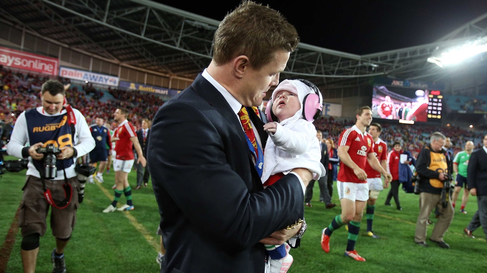 Brian O'Driscoll and daughter Sadie celebrate the Lions' series victory over Australia in July