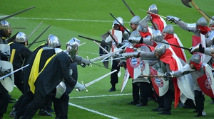 Performers dressed as medieval soldiers entertain the crowd before the Champions League final between Borussia Dortmund and Bayern Munich at Wembley