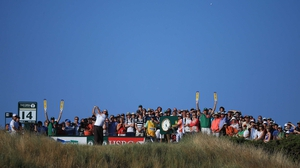 Phil Mickelson tees off from the 14th hole during his second round at the Open at Muirfield