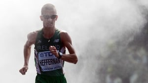 Cork's Rob Heffernan on his way to 50km Race Walk gold at the World Athletics Championships in Moscow